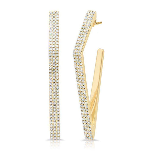 14KT Yellow Gold Diamond Edgy Wishbone Earrings