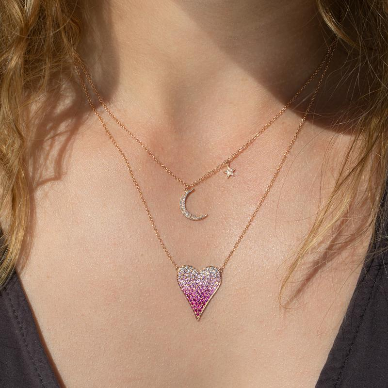 14KT Rose Gold Diamond Mini Moon and Star Necklace