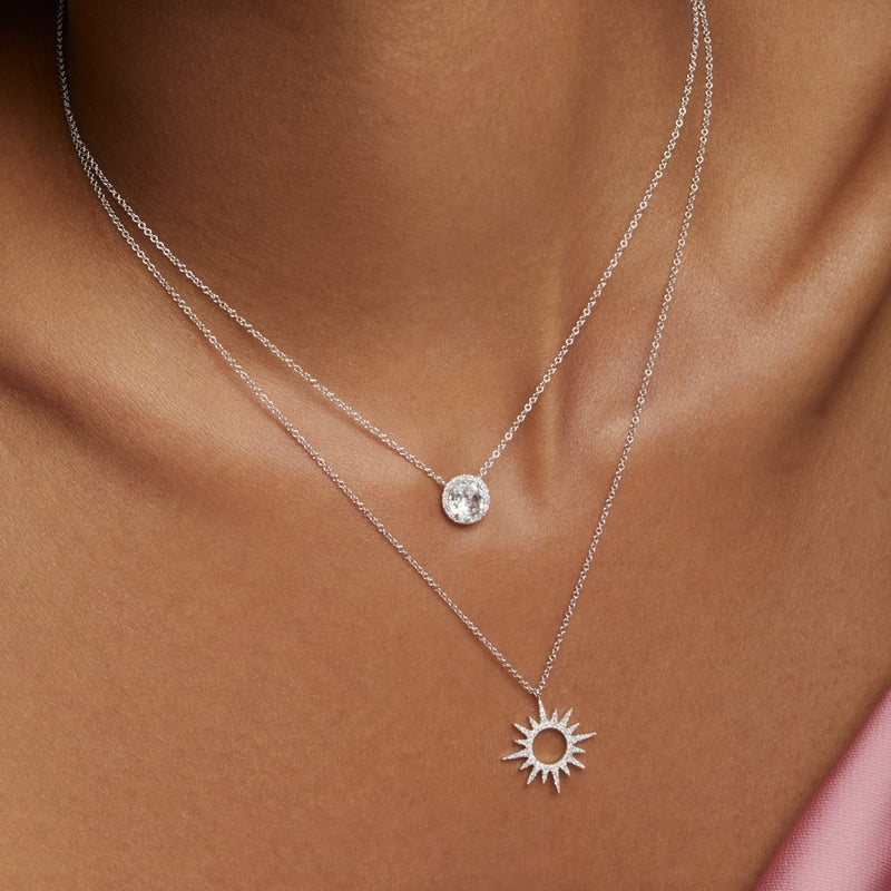 14KT Yellow Gold Diamond Round White Topaz Joy Necklace-Anne Sisteron