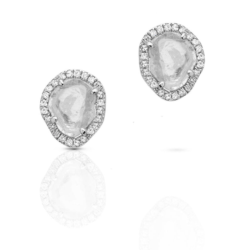 14KT White Gold Diamond Slice Stud Earrings