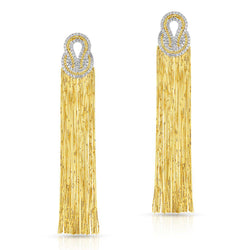 gold fringe statement opera dramatic diamond party earrings