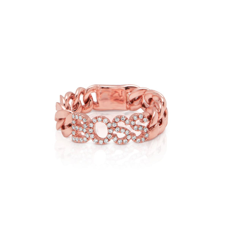 14KT Rose Gold Diamond Boss Chain Link Ring