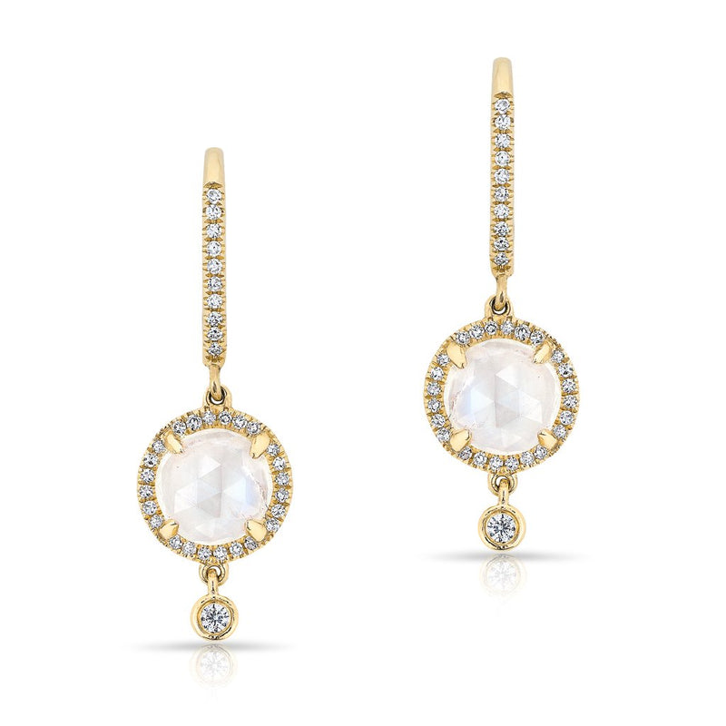 14KT Yellow Gold Diamond Moonstone Kennedy Wireback Earrings