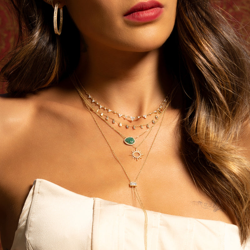 14KT Rose Gold Baguette Diamond Lorelei Necklace-Anne Sisteron
