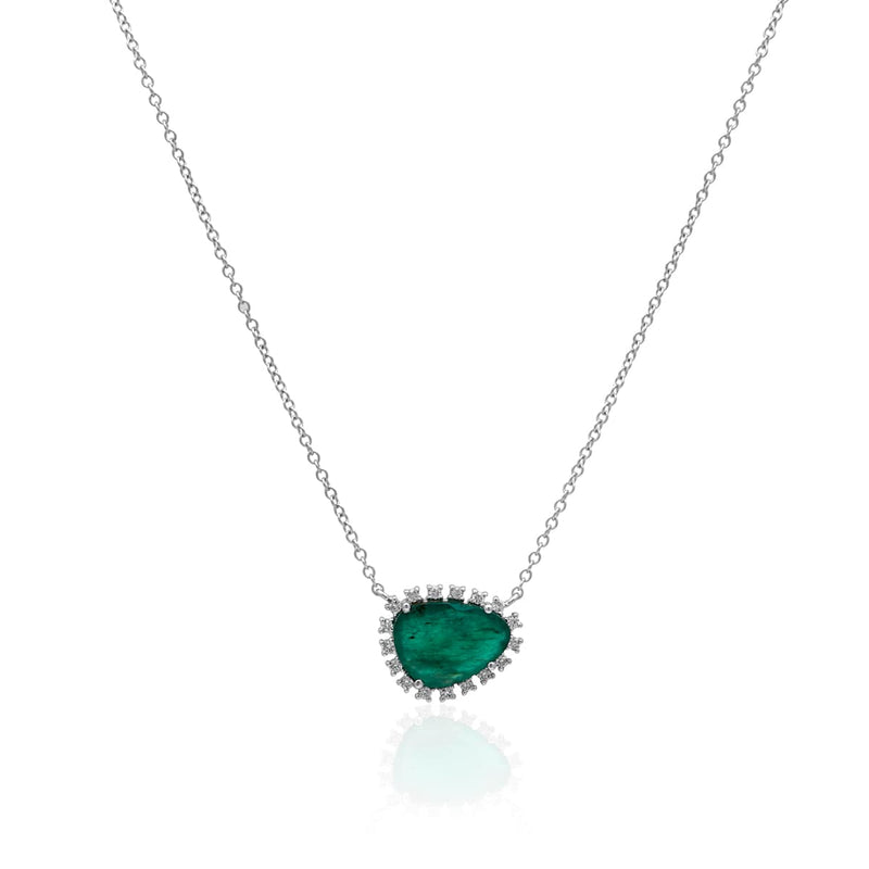 14KT White Gold Emerald Diamond Luxe Jasmine Necklace
