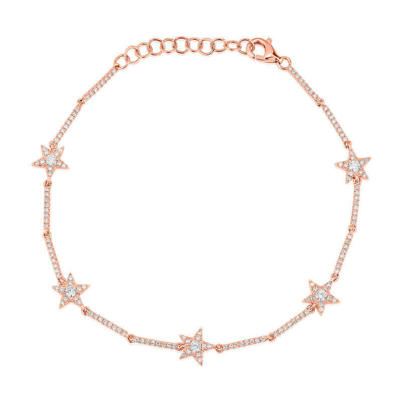 14KT Rose Gold Diamond Stars Bracelet