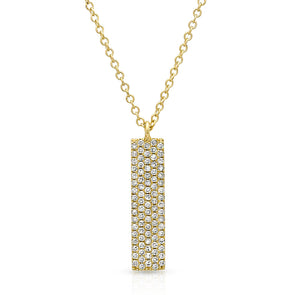 14KT Yellow Gold Diamond Pave Bar Necklace