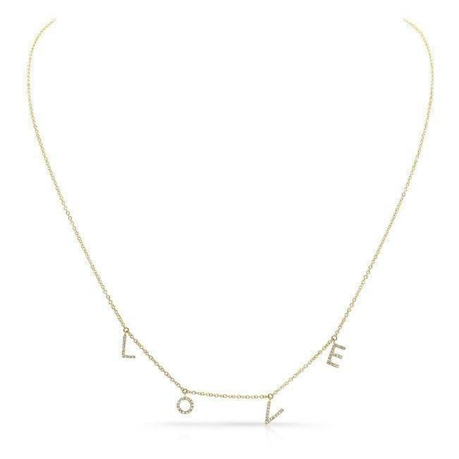 14KT Yellow Gold All Diamond Love Necklace