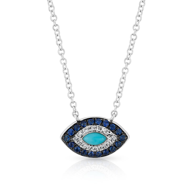 14KT White Gold Diamond Sapphire and Turquoise Evil Eye Necklace