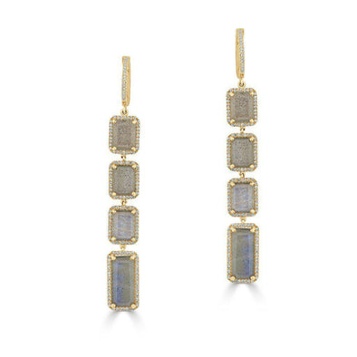 14KT Yellow Gold Labradorite Diamond Geometric Earrings
