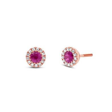 14KT Rose Gold Diamond and Ruby Chantal Stud Earrings