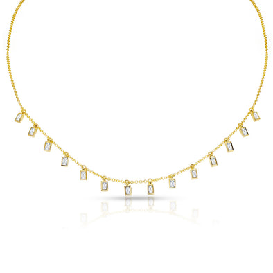 14KT Yellow Gold Baguette Diamond Lorelei Necklace