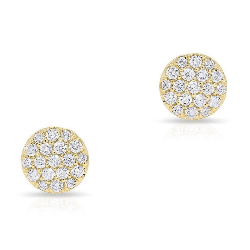 14KT Yellow Gold Diamond Medium Disc Stud Earrings