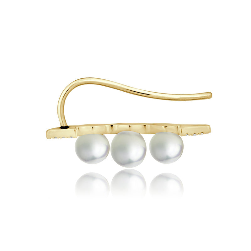 14KT Yellow Gold Pearl And Diamond Ear Climber-Anne Sisteron