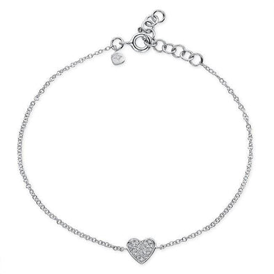 14KT White Gold Diamond Heart Bracelet