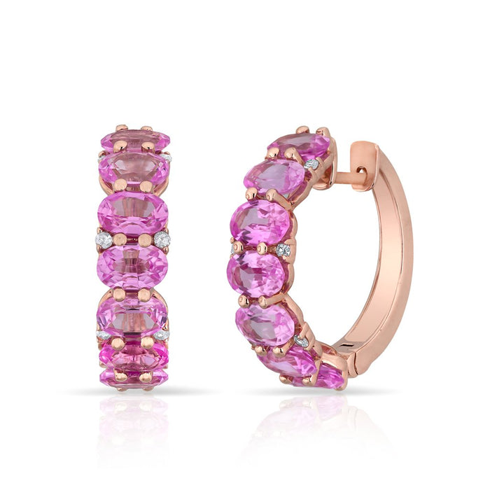 14KT Rose Gold Pink Sapphire Ameka Earrings