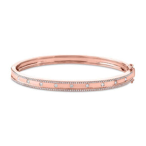 14KT Rose Gold Diamond Trimmed Bangle