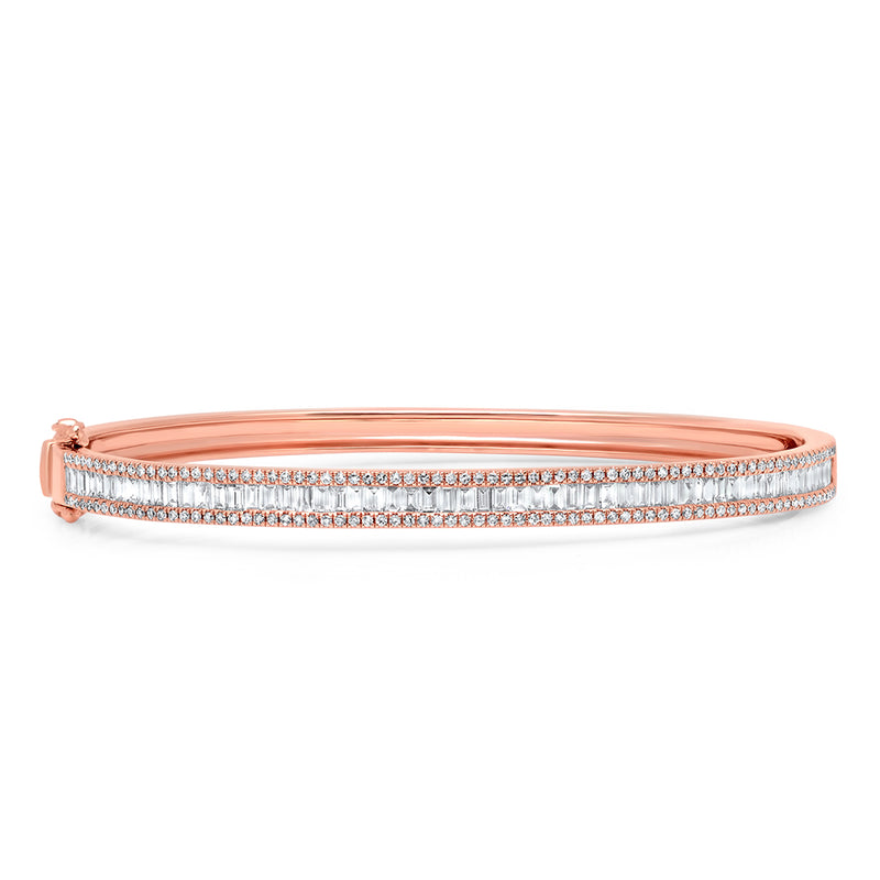 14KT Rose Gold Diamond Eloise Baguette Bangle