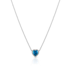 18KT White Gold Blue Topaz Diamond Amour Necklace