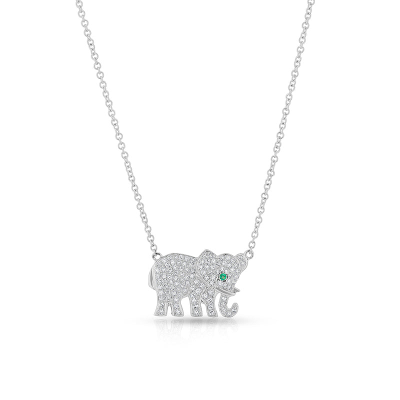 14KT White Gold Diamond Emerald KAAP Elephant Necklace