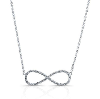 14KT White Gold Diamond Large Infinity Necklace