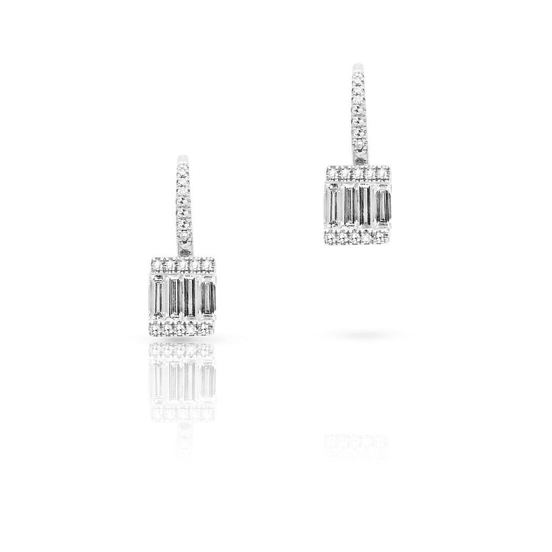 14KT White Gold Baguette Diamond Square Huggie Earrings