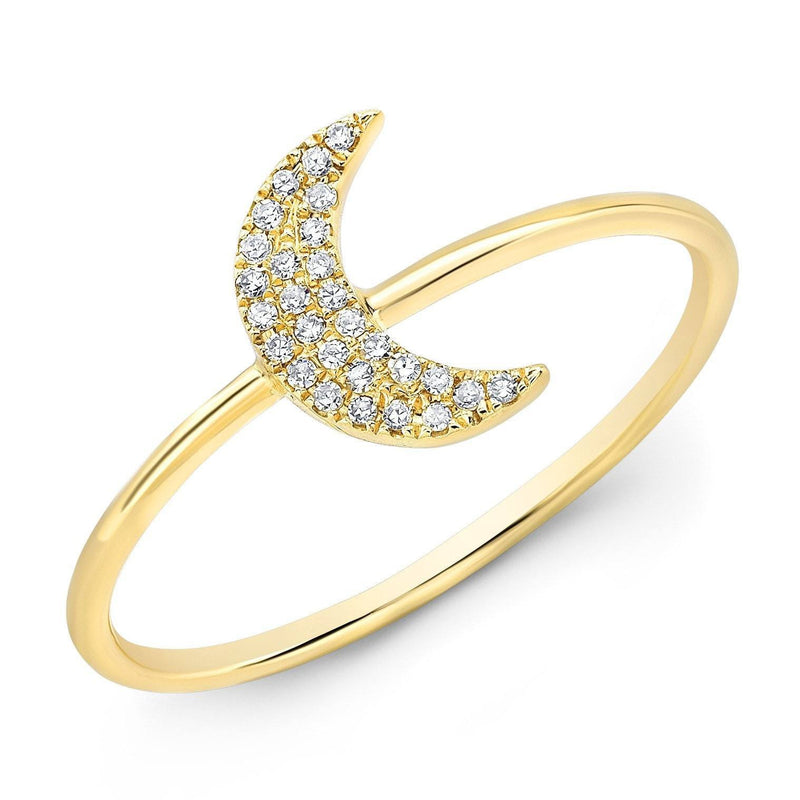 14KT Yellow Gold Diamond Moon Ring