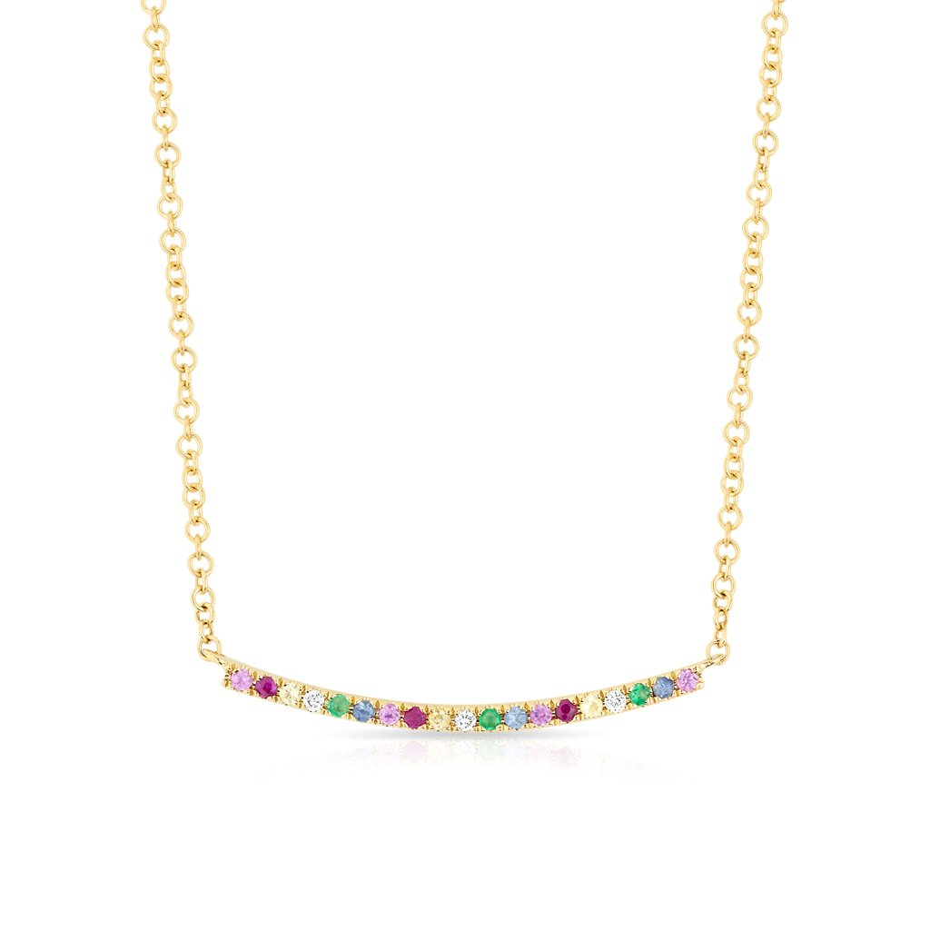 14KT Yellow Gold Rainbow Diamond Curved Bar Necklace