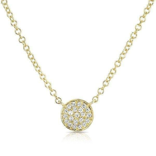 14KT Yellow Gold Diamond Mini Disc Necklace
