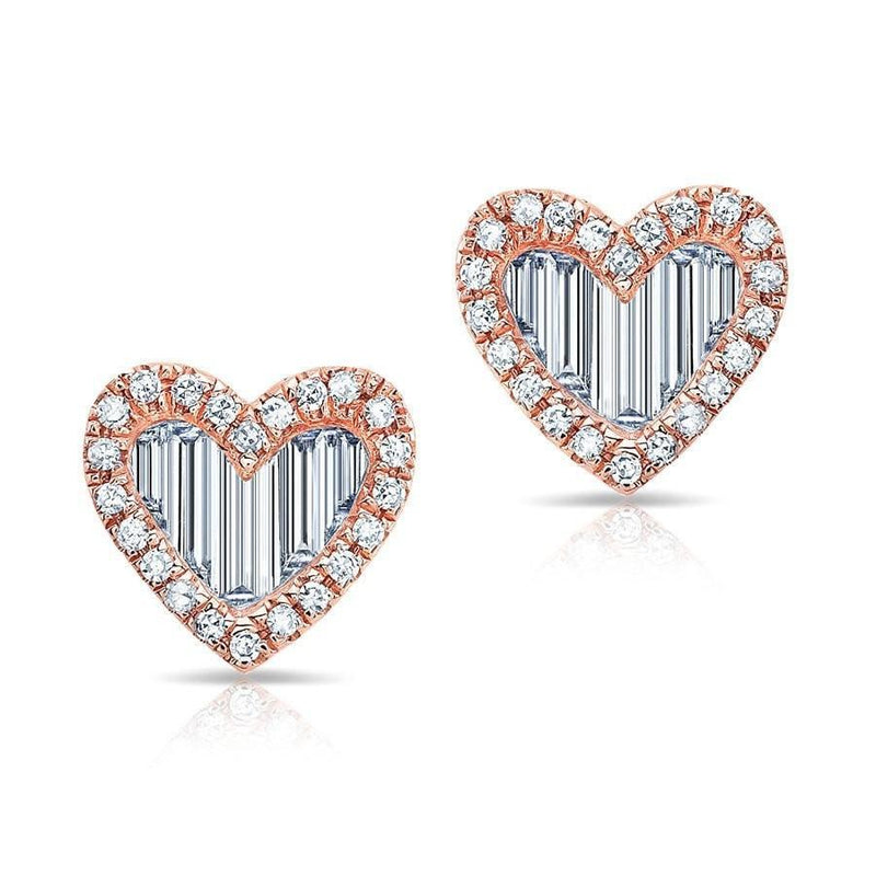 14KT Rose Gold Baguette Diamond Heart Stud Earrings