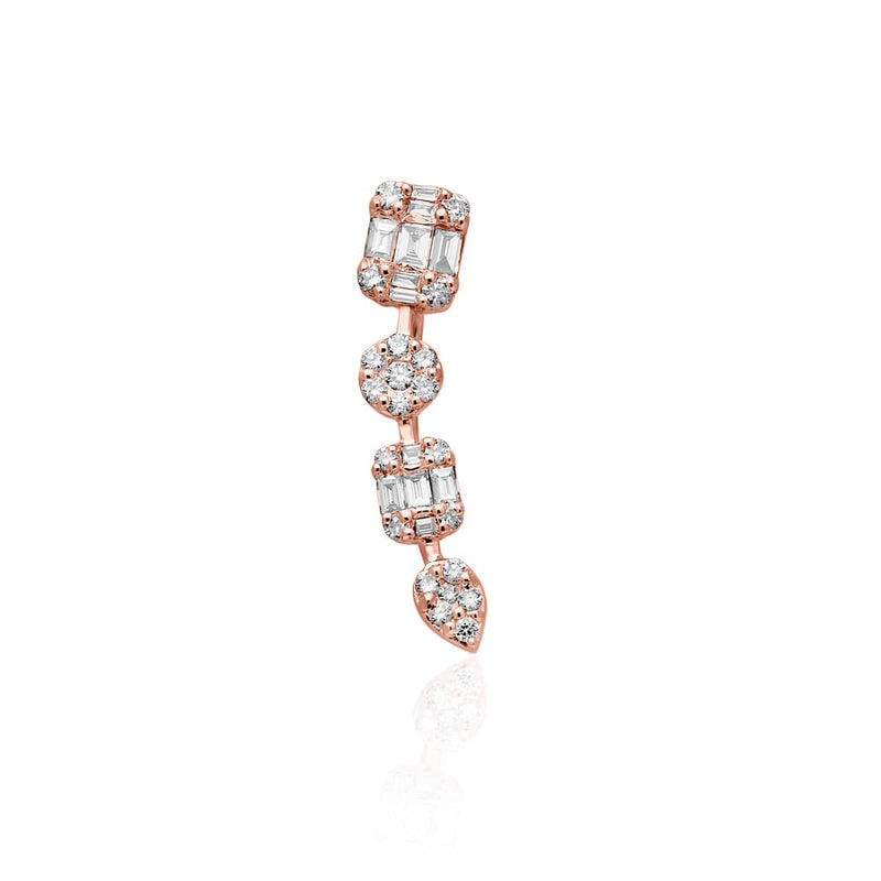 14KT Rose Gold Baguette Diamond Camille Ear Climber