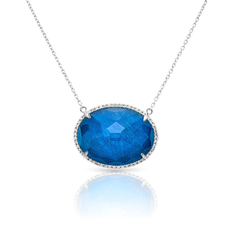 14KT White Gold Diamond Blue Sapphire Oval Marina Necklace