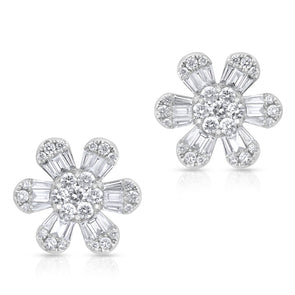 big luxe large flower floral baguette diamond stud earrings