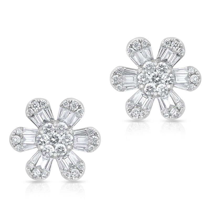 14KT White Gold Baguette Diamond Luxe Large Daisy Earrings