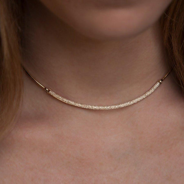 14KT Yellow Gold Diamond Cleopatra Choker Necklace