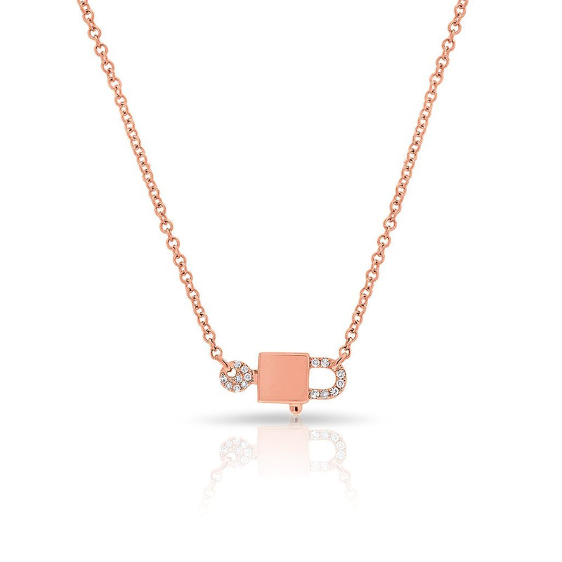 14KT Rose Gold Diamond Lock and Key Necklace