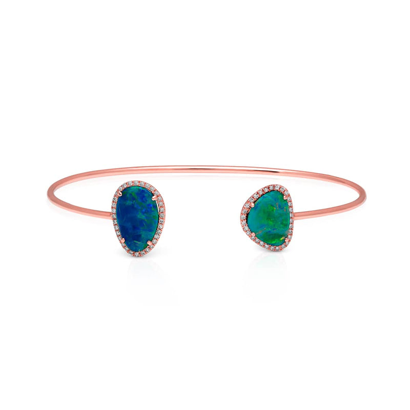 14KT Rose Gold Opal Diamond Cuff
