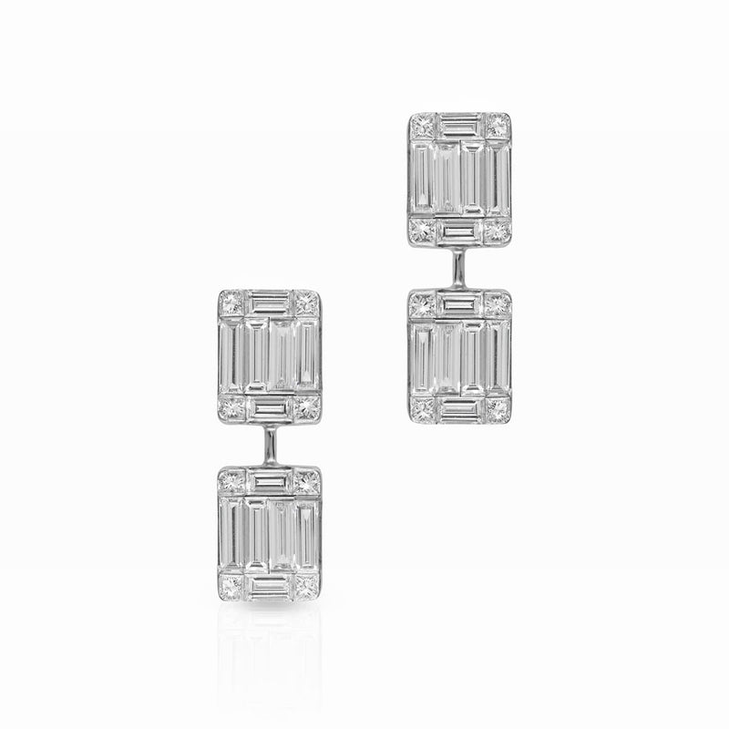 14KT White Gold Baguette Diamond Astor Earrings
