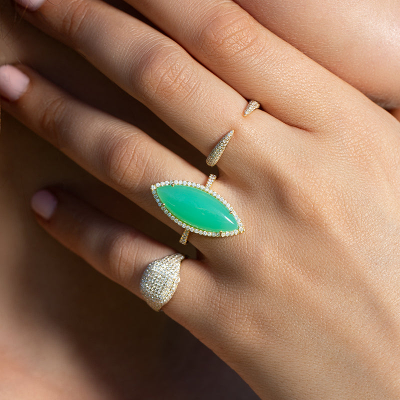 14KT Yellow Gold Diamond Chrysoprase Marquis Ring-Anne Sisteron