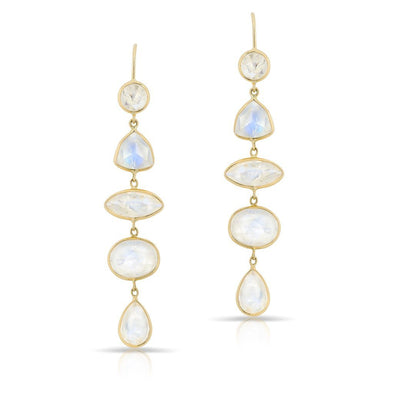 14KT Yellow Gold Moonstone Drop Dominique Earrings