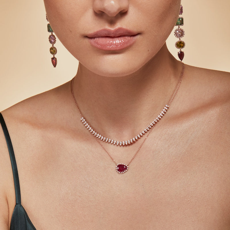 14KT Rose Gold Ruby Diamond Luxe Jasmine Necklace