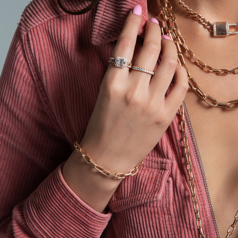 14KT Rose Gold Chain Link Lillian Bracelet-Anne Sisteron