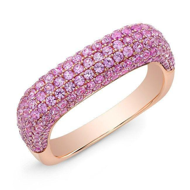 14KT Rose Gold Pink Sapphire Square Ring