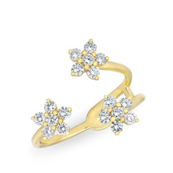 14KT Yellow Gold Diamond Triple Mini Flower Ring