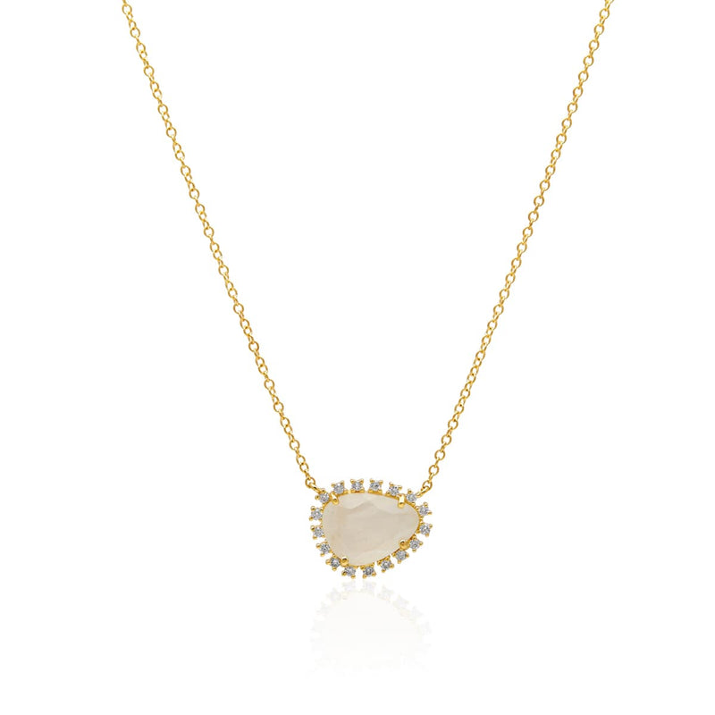 14KT Yellow Gold Moonstone Diamond Luxe Jasmine Necklace