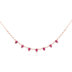 14KT Rose Gold Ruby Diamond Aleigha Drop Necklace