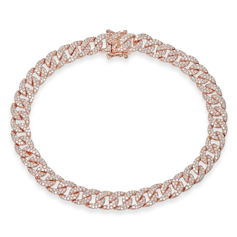 14KT Rose Gold Diamond Cameron Chain Link Bracelet