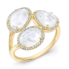 14KT Yellow Gold Moonstone Diamond Trinity Ring