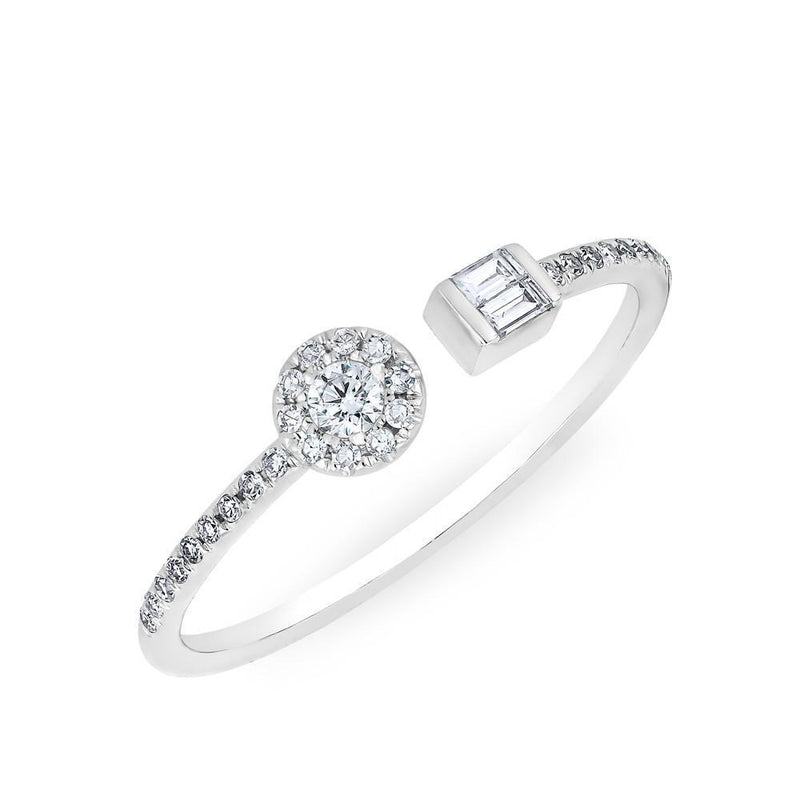 14KT White Gold Diamond Baguette and Disc Naima Ring
