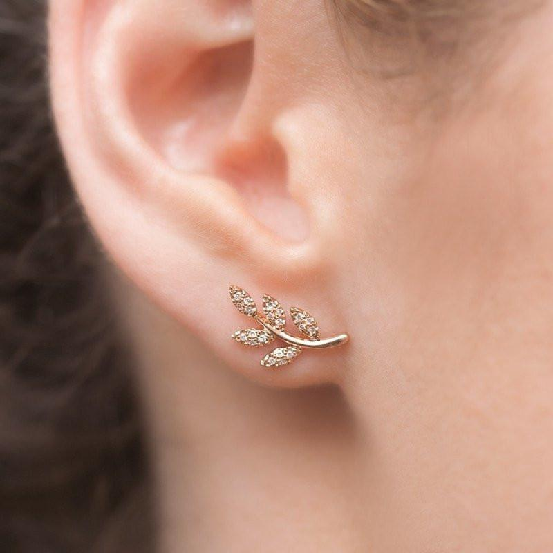 14KT Rose Gold Diamond Leaf Stud Earrings-Anne Sisteron